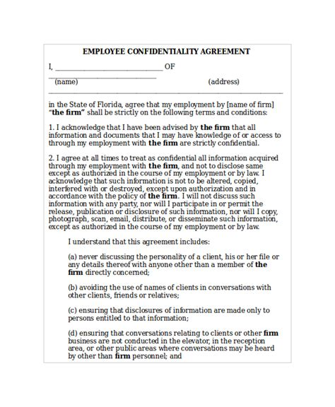 employment confidentiality agreement template 17 confidentiality agreement templates free sle