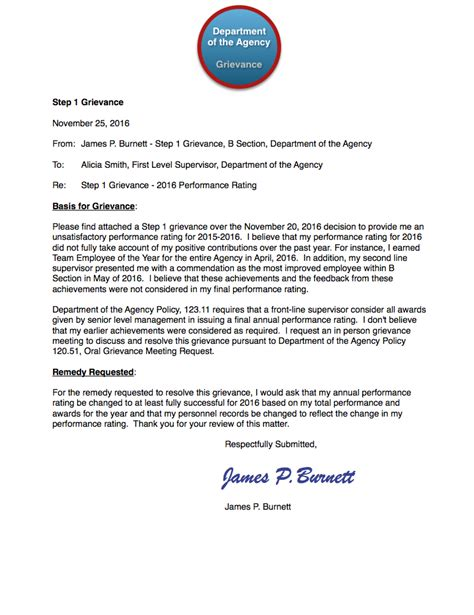 Grievance Appeal Letter Template federal employee a dedicated to the