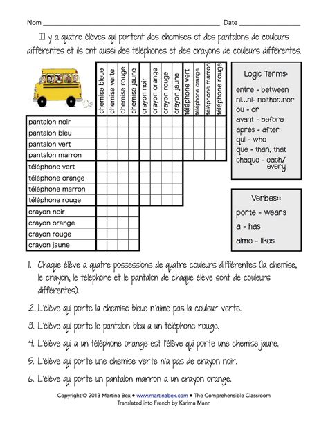 printable logic puzzles for teachers logic puzzle in french the comprehensible classroom