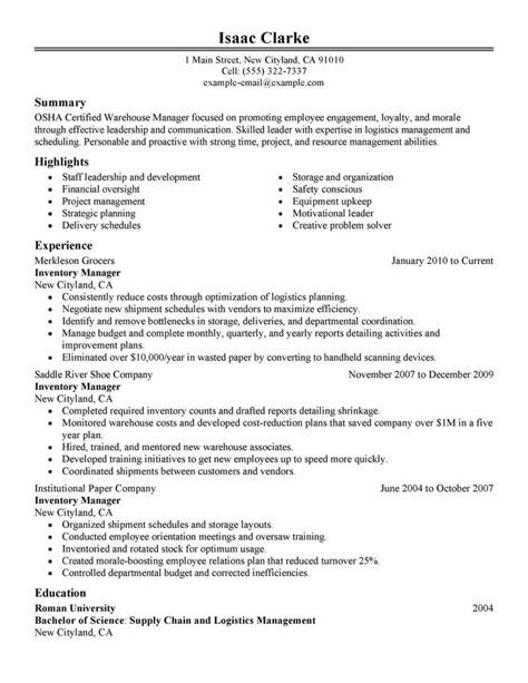 Inventory Resume by Best Inventory Manager Resume Exle Livecareer
