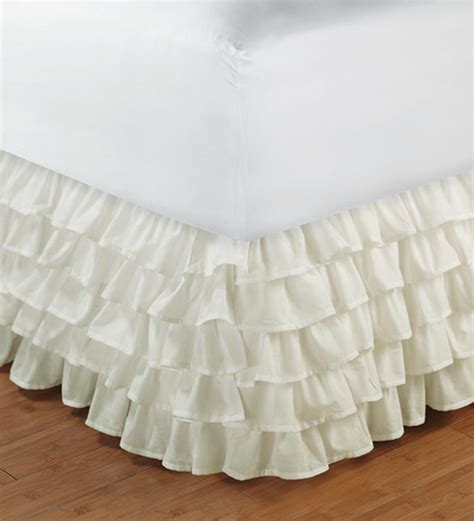 white ruffle layered bed skirt valance twin xl size 1000tc