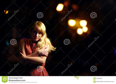 lonely girl at night lonely girl on dark night street stock photo image of