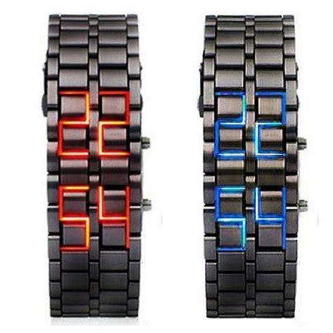 samurai led a451 black blue abco tech lava style iron samurai black bracelet led
