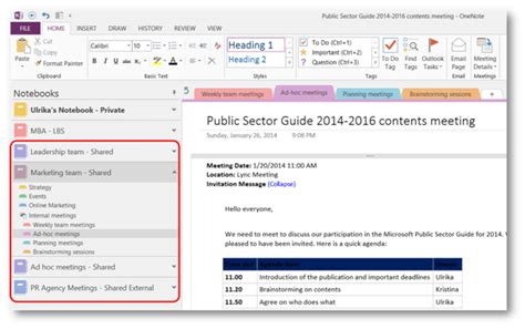 How To Effectively Use Shared Meeting Notes In Onenote 2013 Onenote Meeting Template