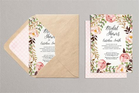 Floral Bridal Shower Invitations by Printable Bridal Shower Invitation Rustic Bridal Shower