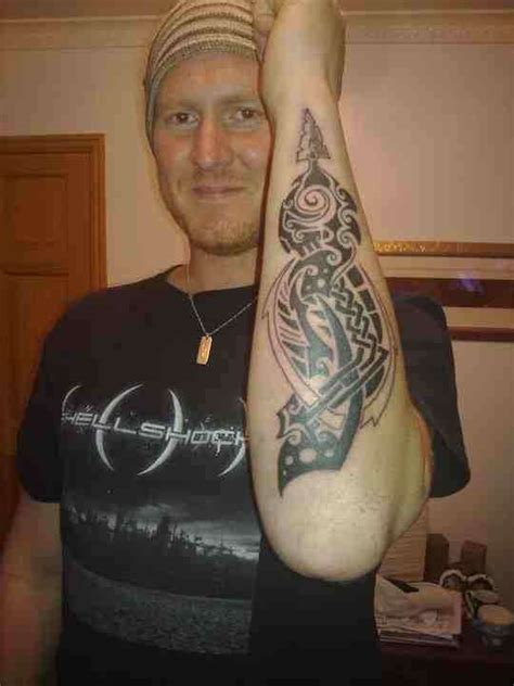 spear tattoo tribal arm spear