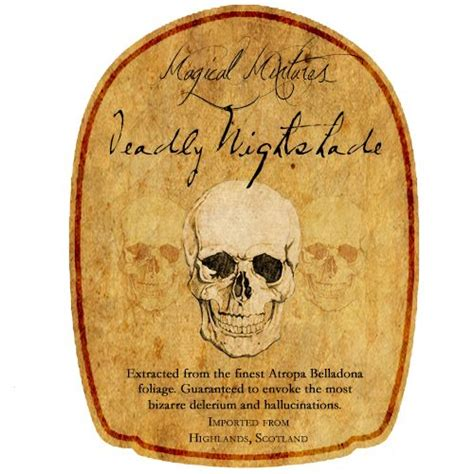 printable crown royal label deadly nightshade potion bottle label fits a crown royal