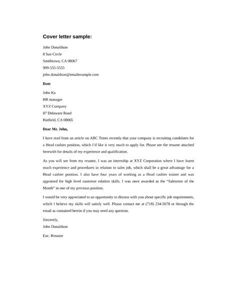 basic head cashier cover letter sles and templates