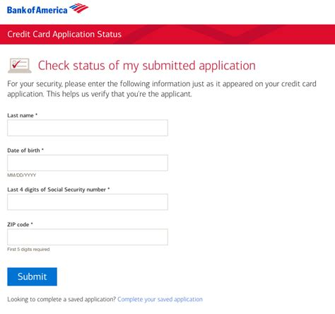 Bank Of America Business Credit Card Application Status check your bank of america credit card application status