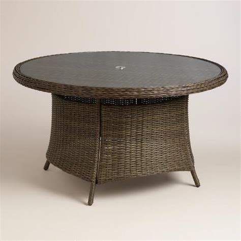 Resin Wicker Dining Table All Weather Wicker Solano Outdoor Dining Table World Market