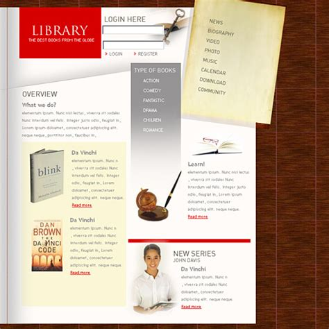 templates for website of library digital library website template 0860 education kids