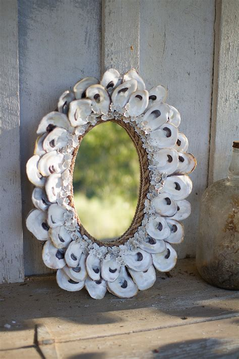 oyster shell mirror oval
