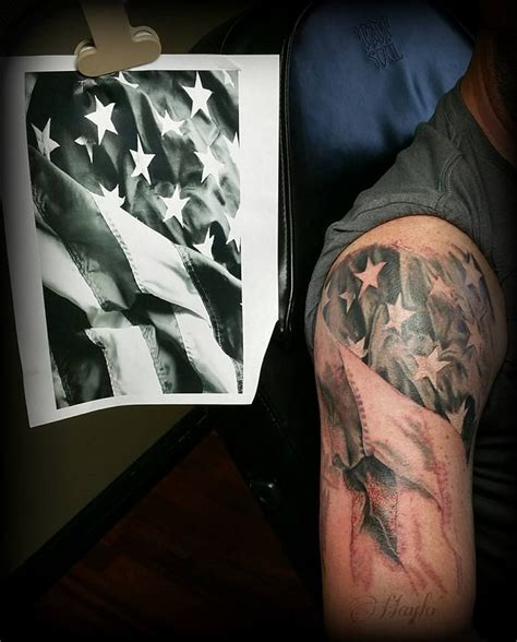 black and grey american flag tattoo black grey american flag half sleeve in progress by haylo