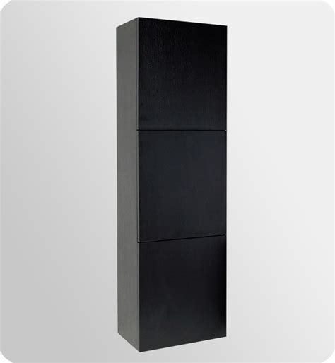 Black Linen Cabinets For Bathroom Fresca Black Bathroom Linen Side Cabinet W 3 Large