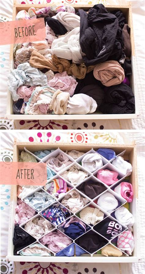 How To Organize Your Sock And Drawer by White Drawer Organizer Before After
