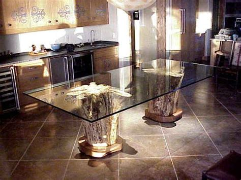 Tree Trunk Dining Table With Glass Top 1000 Images About Tree Stump Furniture On