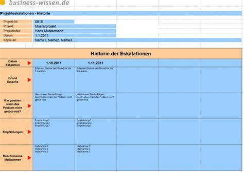 eskalationen im projekt dokumentieren vorlage business