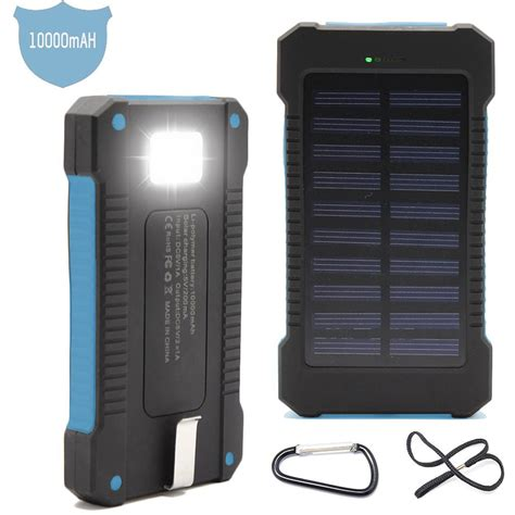 Power Bank Solar Waterproof solar power bank 10 000mah phone charger rubber
