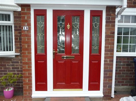 red front doors creating a charming entryway with red front doors