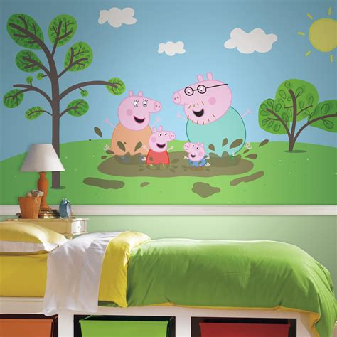 Peppa Pig Room Decor Roommates Peppa The Pig Xl Chair Rail Prepasted Mural 6 X 10 5 Ultra Strippable