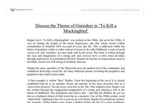 Theme Of Outsiders In To Kill A Mockingbird | discuss the theme of outsiders in to kill a mockingbird