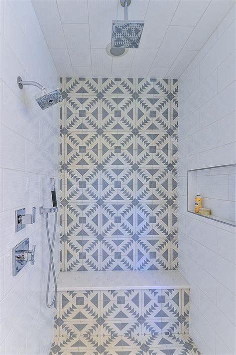 white  gray cement shower tiles transitional bathroom