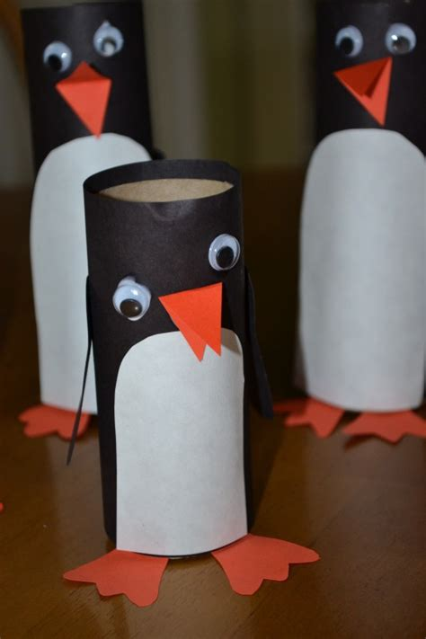 Paper Penguin Craft - toilet paper penguin speech therapy