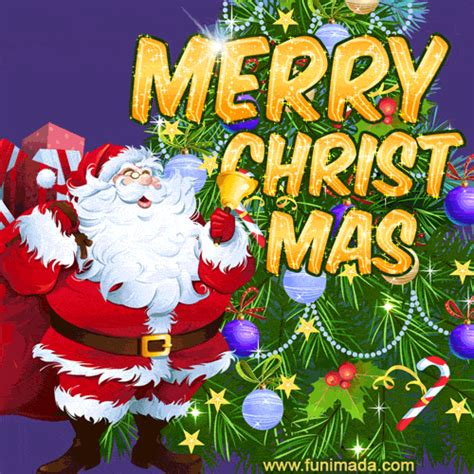 cute santa  christmas tree  merry christmas card gif   funimadacom