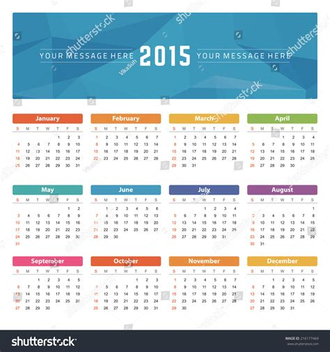 layout calendar 2015 calendar 2015 year vector design template stock vector