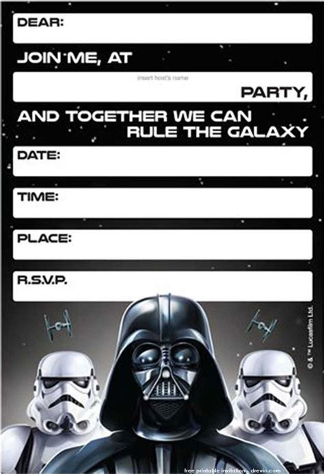 Wars Invitations Free Printable