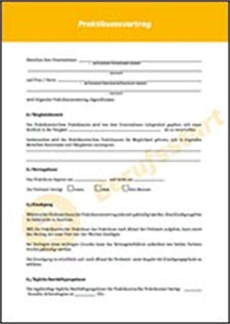 Praktikum Vorlage Vertrag Praktikumsvertrag Muster