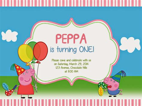 Peppa Pig Birthday Card Template