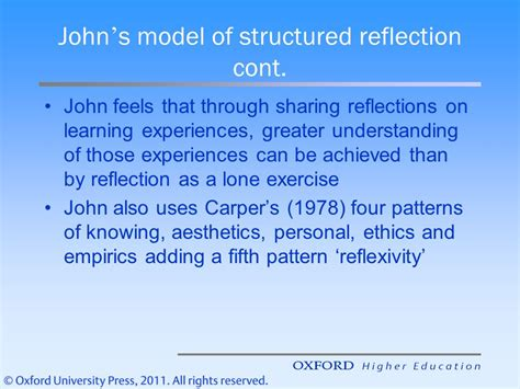 structured reflective template reflective practice the frameworks ppt