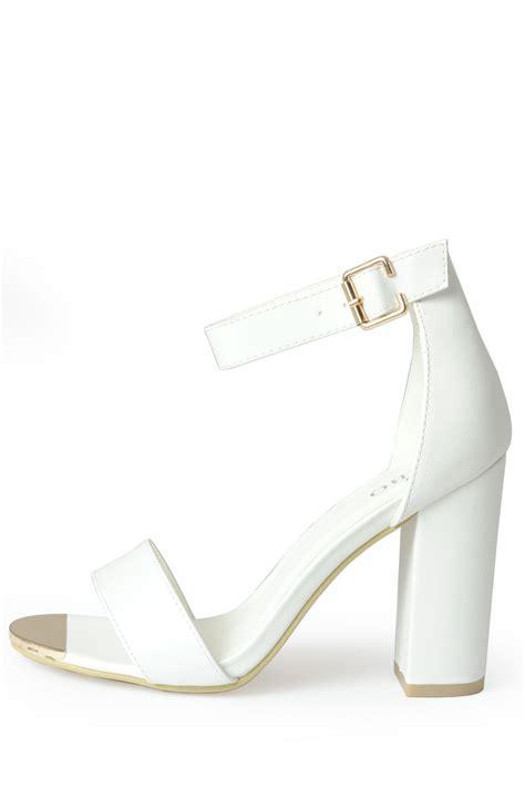 white strappy sandal heels indigo footwear aliya strappy block heel sandals in white