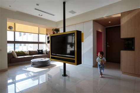 Tv Area Ideas Pivoting Tv Turns Playful Apartment Into Entertainment Area