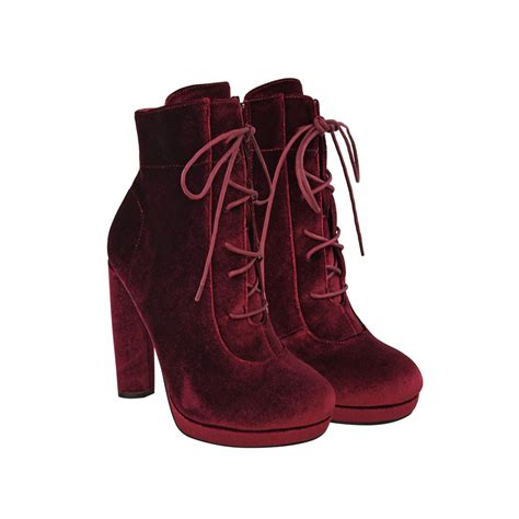 High Heel Ankle Boots Velvet burgundy velvet block high heel platform lace up ankle