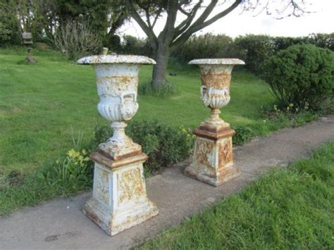 pair of large victorian cast iron urns garden planters