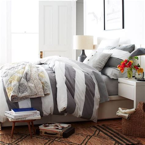 gray and white striped comforter stripe duvet cover shams white feather gray west elm