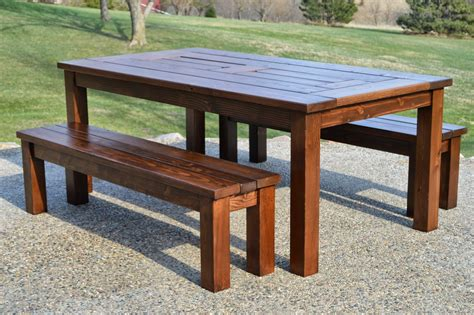 Build A Patio Table Kruse S Workshop Simple Indoor Outdoor Rustic Bench Plan