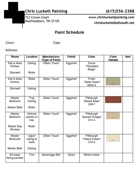 paint schedule exle guidelines