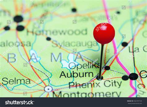 united states map auburn alabama auburn pinned on map alabama usa stock photo 502707145