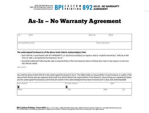 As Is No Warranty Agreement Bpi Dealer Supplies No Shop Agreement Template