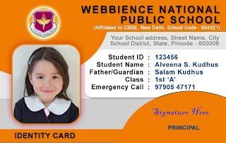 student identity card template school id card horizontal id card design student id