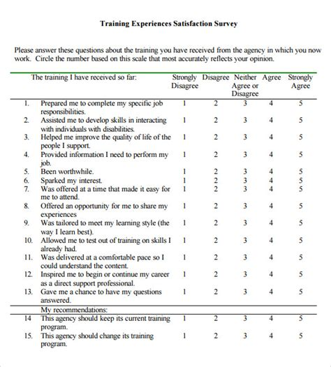 sle training survey 13 exle format