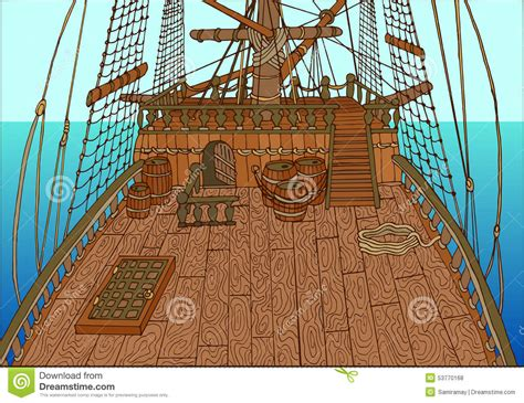 cartoon boat deck background with old sailing ship deck stock vector image