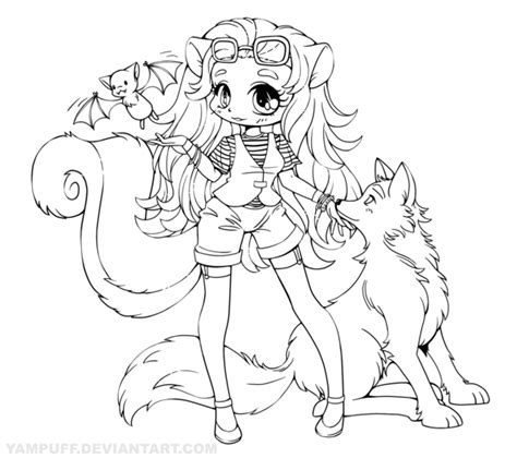 anime wolf girl coloring pages skunk girl with wolf and bat lineart commission by