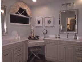 Master bathroom corner vanity makeup desk transitional bathroom