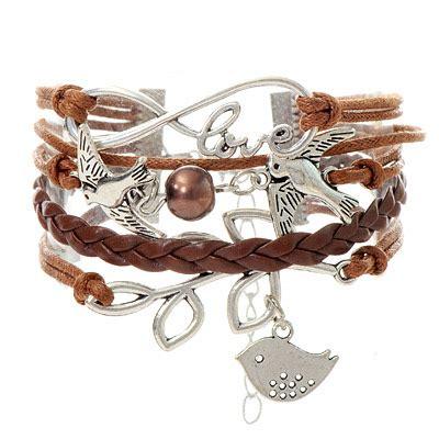Gelang Gesper Warna Coklat2 gelang tali multicharm burung coklat cantik murah unik