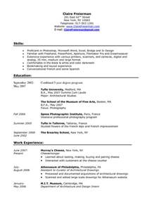 Resume Objective Exles Barista Barista Resume Sle Barista Description Resume