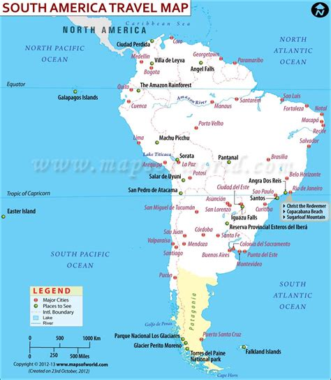 south map south america travel map